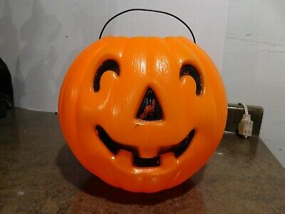 "VTG 8"" HTF JOL Jack-O-Lantern Pumpkin Blow Mold Trick/Treat Candy Pail/Bucket"