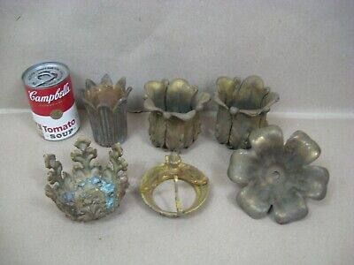 Antique Vtg Brass Oil Electric Lamp Chandelier Lot Socket Cup Bobeche Break L13