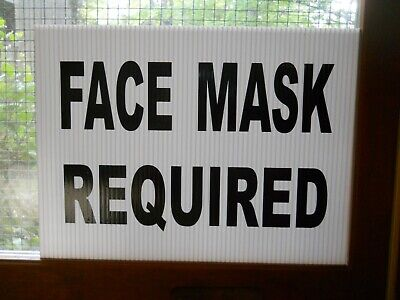 Wear A Mask Sign Mask Required Sign On Coroplast 8.5 X 12 For Window Display