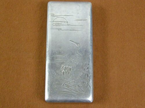 Antique Japanese Signed Sterling Silver Cake or Trinket/Pill Box Engraved Stork