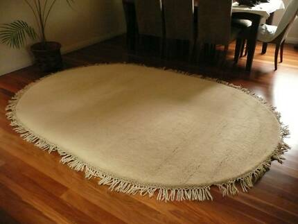 Cream Woollen Oval Floor Rug Blakehurst Kogarah Area Preview