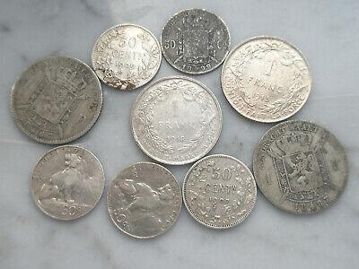 Lot francs argent Belgique Léopold 2 albert 1 1867 1887 1899 1901 1907 1909 50
