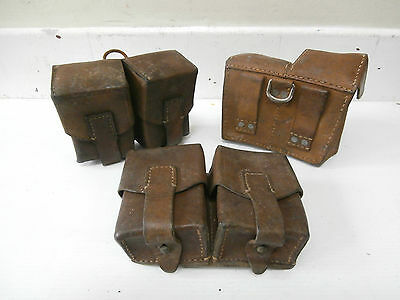 3 x Yugoslavian Army M48 Leather Duo Ammo Pouch MAUSER Double Ammunition Surplus