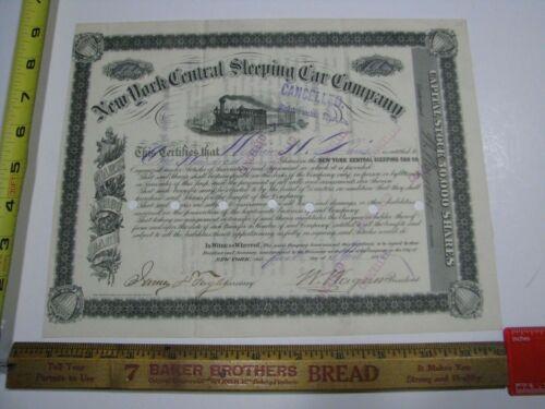 New York Sleeping Car Company Stock Certificate 100 Shares 1880 NYC Railroad
