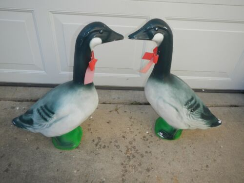 "Lot Of 2 Vintage Union Products Blow Mold Canadian Christmas Goose 23"" Geese"