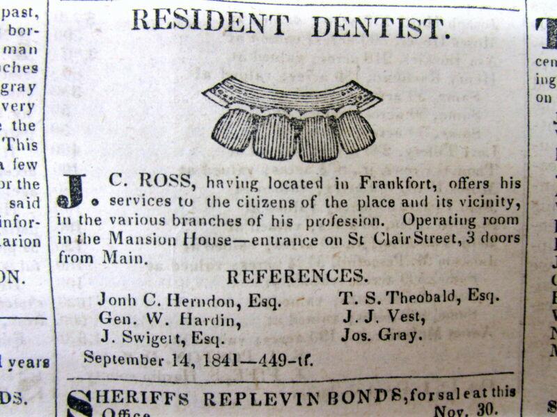 Rare original 1841 FRANKFORT Kentucky newspaper w illustrated DENTIST AD teeth