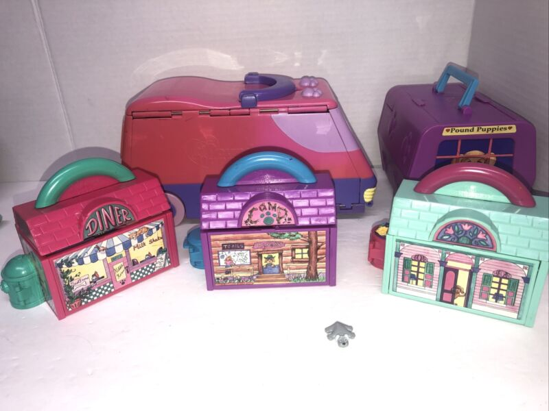 Vintage Mini Pound Puppy & Purries Playsets Lot Galoob 1995 1 Figure 5 sets 90s