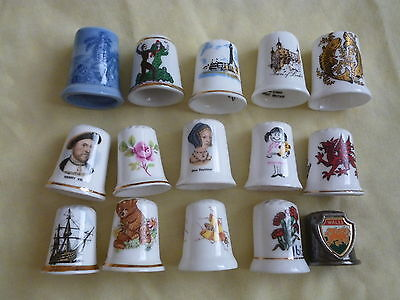 15 X  THIMBLES CHINA METAL VARIOUS DESIGNS SOUVENIRS