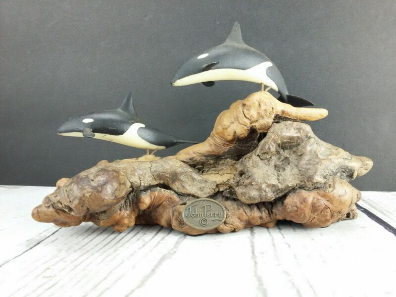 John Perry Orca Killer Whales Burl Wood Display Figure 1716