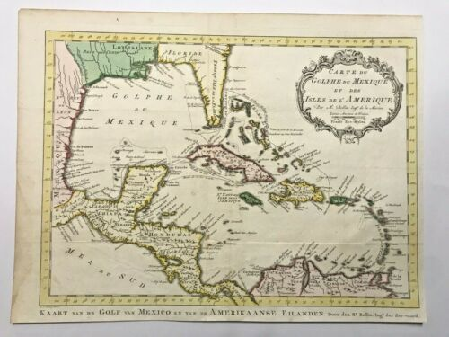 GULF OF MEXICO CARIBBEAN 1773 NICOLAS BELLIN NICE ANTIQUE MAP 18TH CENTURY