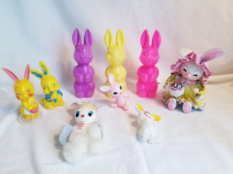 vintage easter lot bunny rabbit candy holder, rattle, plastic decorations