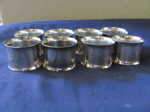 Silver plated Set of 8 Simple Design Napkin Rings