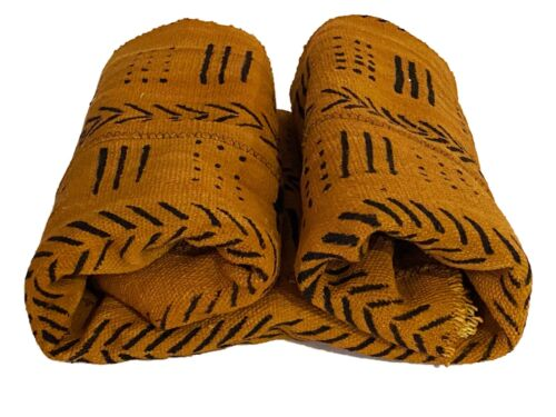 "African  Brown & Black Mud Cloth Textile Mali 40"" by 60"""