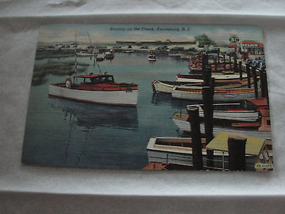 Keansburg NJ Boating Boats Dock Old Linen Postcard great condition
