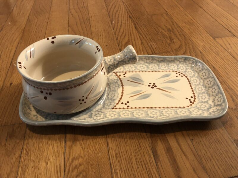 Temptations by Tara QVC Ovenware Old World Gray Soup Bowl /Sandwich Plate