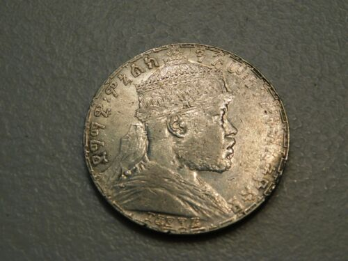 Beautiful 1903 Ethiopia Silver Birr - Choice AU, Strong Luster, Nice!!!