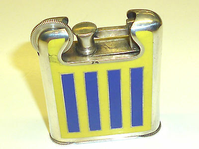 FRENCH PROTOTYPE SOLID SILVER ENAMELED VINTAGE POCKET LIFTARM LIGHTER -VERY RARE