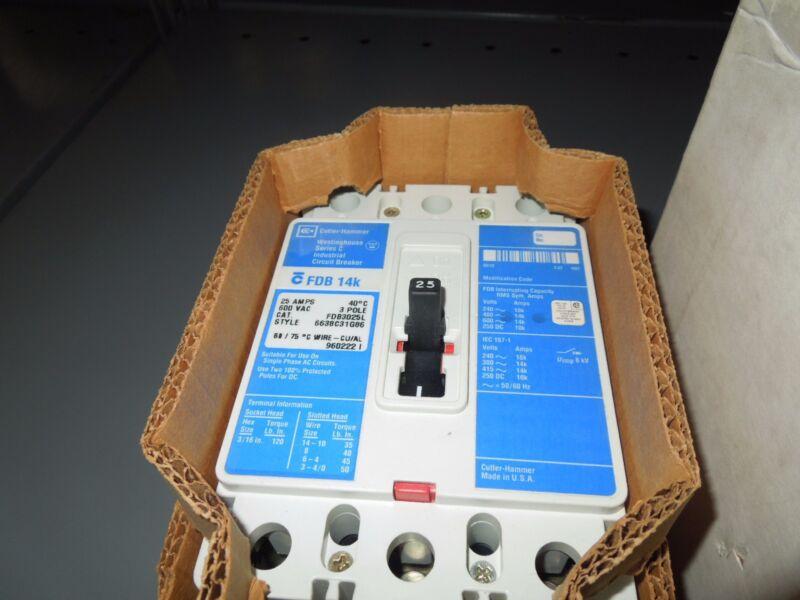 Cutler-hammer Fdb3025l 25a 3p 600v Circuit Breaker Style# 6638c31g86 New Surplus