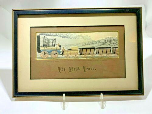 VICTORIAN VERY RARE ANTIQUE THE FIRST TRAIN  ENGLAND - SILK STEVENGRAPH -