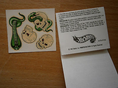 4x Tattoo Hot Wheels Totenkopf Schlange 1992 (Hot Wheels Tattoos)