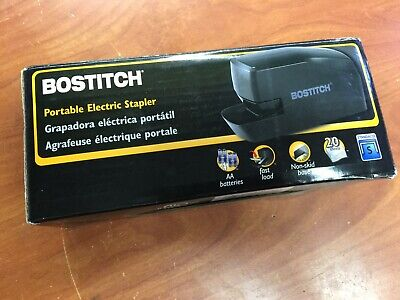 20 Sheets Portable Rubber Base Electric Stapler Ac Or Battery Powered Black
