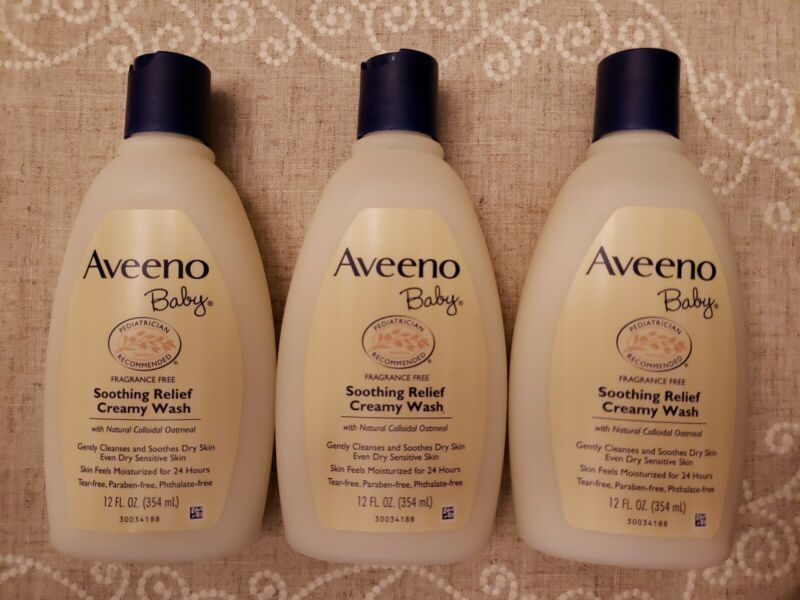 Set of 3 Aveeno Baby Soothing Relief Creamy Wash With Natural Oatmeal 12 oz ea