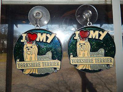 Terrier Suncatcher ((2) I  Love My  Yorkshire Terrier Sun Catcher Ornament )