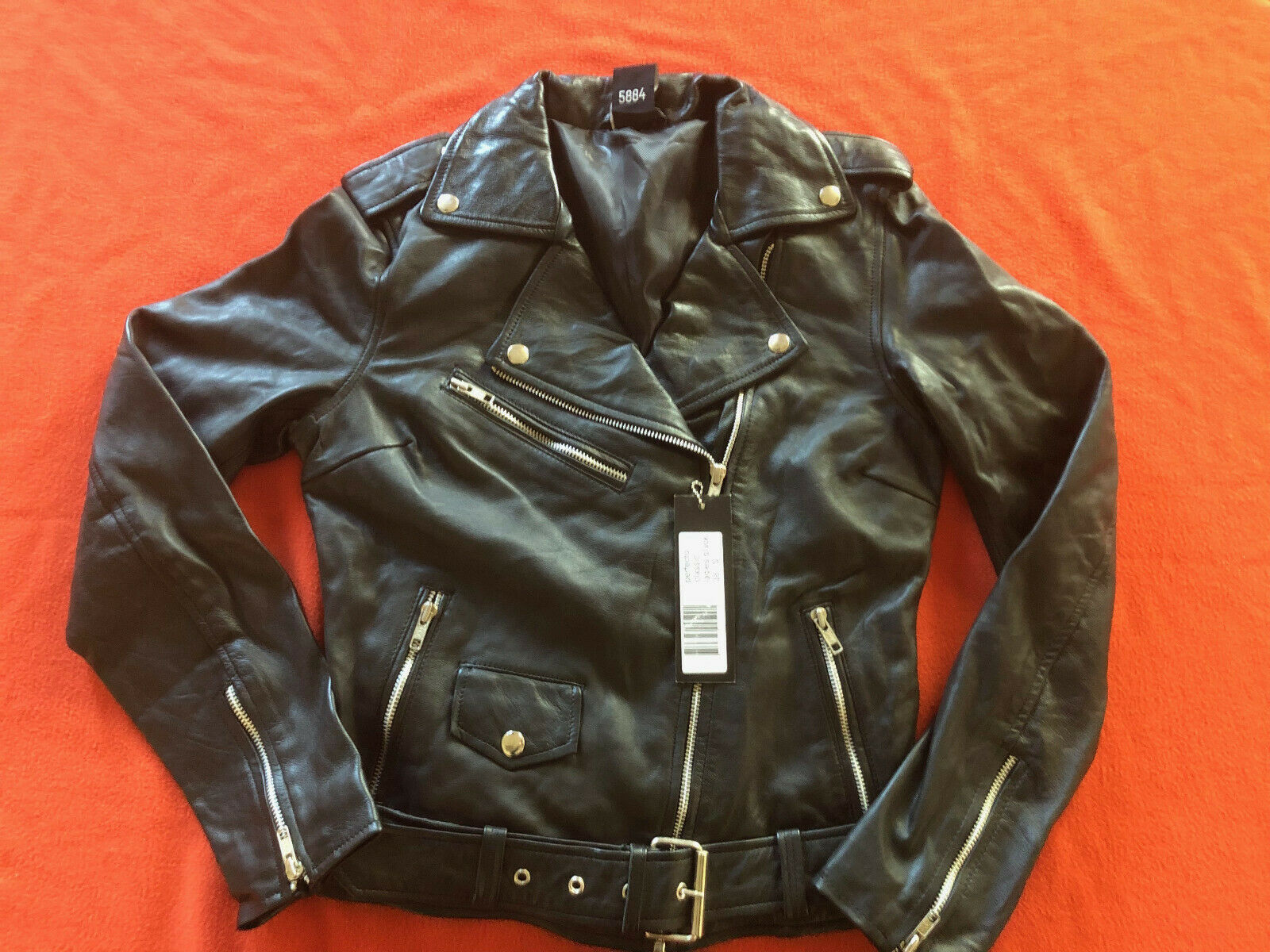 Urban Damen Bikerjacke Lederjacke echt Leder Perfecto Schwarz Größe S 36-38