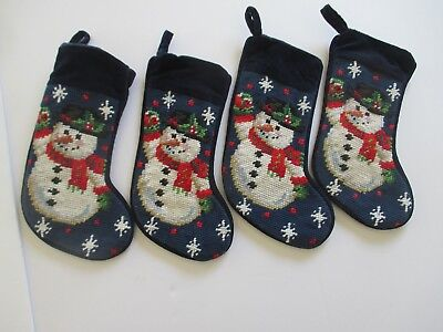 (Vintage Christmas Wool Needlepoint STOCKING, SNOWMAN,  LOT OF 4, MINI 8-9