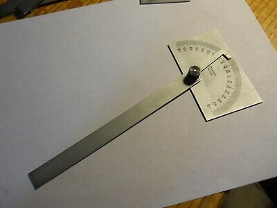 Starrett 183 Steel Protractor Rectangular Head 0 To 180 Used