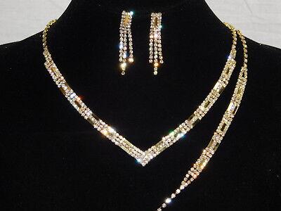 Diamond Accent Bracelet And Necklace (3PC Bridal Set Gold W. Diamond Accent Necklace, Earrings and Bracelet /16104 )