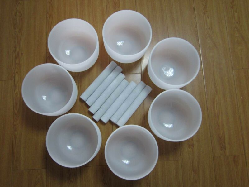 ALL 8 INCH CHAKRA TUNED SET OF 7 FROSTED QUARTZ CRYSTAL SINGING BOWLS