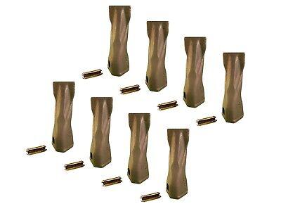 8 Backhoe Bucket Teeth- 195-7202 Chisel Tip W Pins Fits Cat Drs200 Adapters