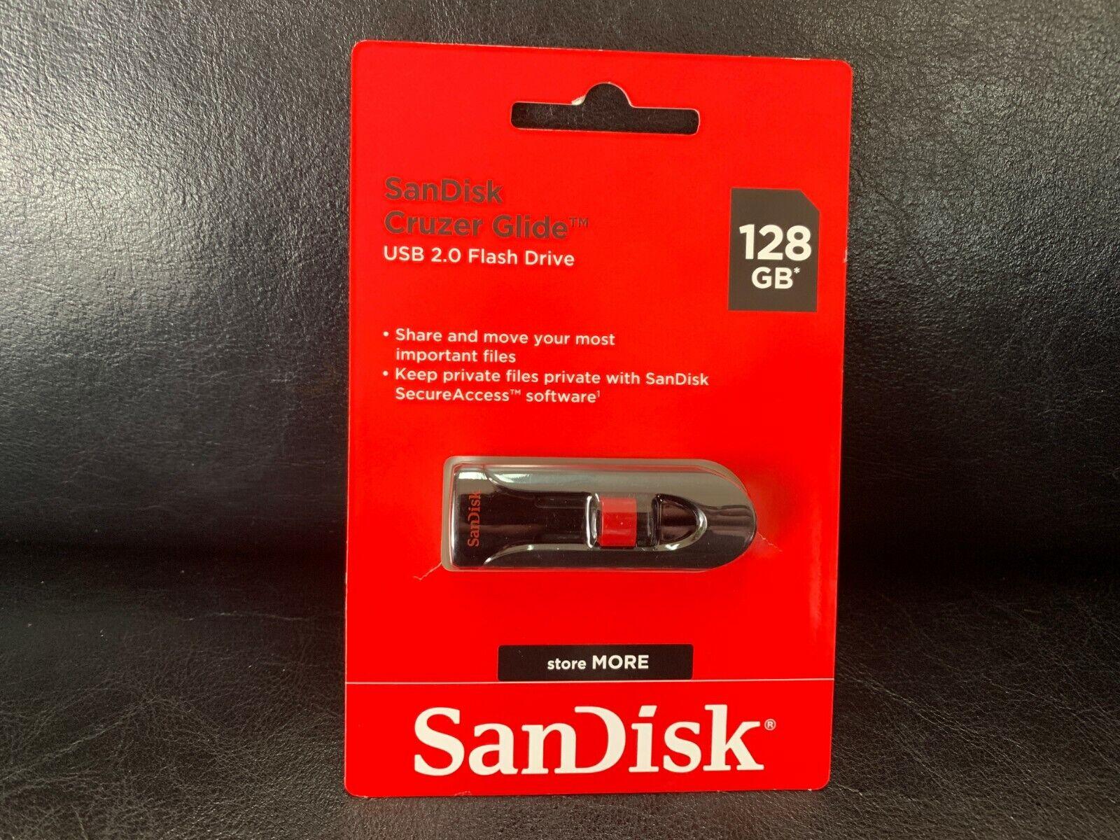 SanDisk Cruzer Glide 128GB USB 2.0 Flash Drive Thumb Stick