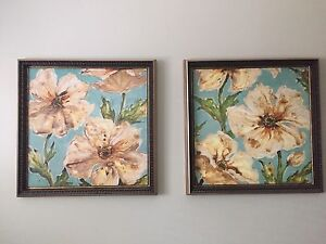 Two big flower prints - cool vintage inspired wall art