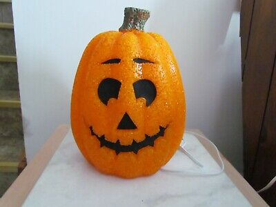 HALLOWEEN MELTED SEASONS LIGHTED PUMPKIN CORD RARE CUTE DECORATION 12""
