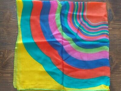 Vintage Scarf Styles -1920s to 1960s Vintage Beautiful Multi Color Psychedelic Hippie Style Square Scarf 27