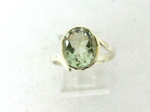 Sterling Silver Oval Cut Natural 3ct Green Amethyst Bypass Ring 3.8g Size-9