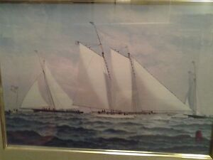 """""""Fred Cozzens 84"""" Bluenose with the cup,  Watercolor"""
