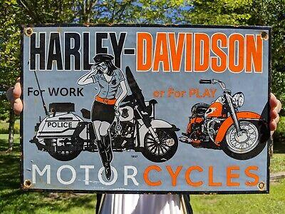 VINTAGE OLD DATED 1957 HARLEY MOTORCYCLE PORCELAIN DEALER SIGN POLICE ROAD BIKE