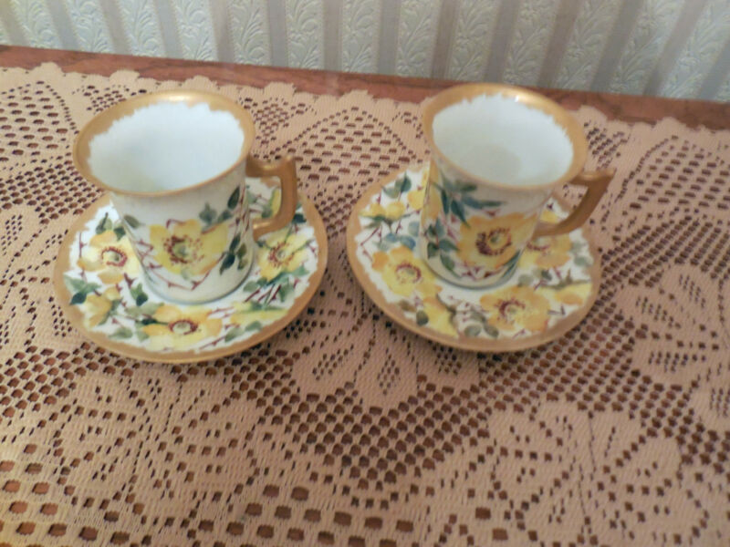 T & V Limoges France Tea Cup  & Saucer Yellow Roses Floral Gold Gilt