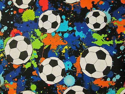 Soccer Ball Lets Play Soccer Futbol Olympic Sports Colors Cotton Fabric FQ](Soccer Ball Fabric)
