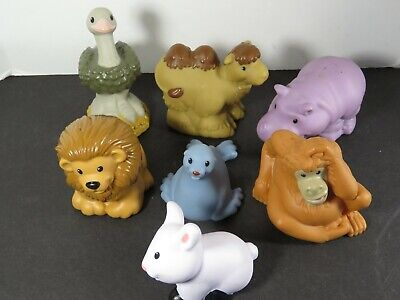 7 Fisher Price Little People Lot Zoo Talkers Animals Rhino Ostrich Bunny A8327
