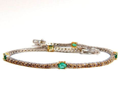 3.00ct Green Natural Emeralds Fancy Color Diamonds Tennis Bracelet 14k