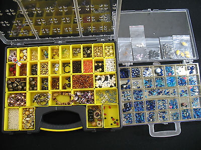 Beads,Pearls,AB Crystal,Lampwork,Wood,You Name It 3+ Lbs Jewelry Making Material
