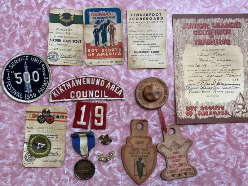 Vtg Lot Of BSA Boy Scout Patch White Water Medal 1957 Leather Hat Circus Award