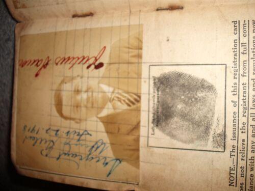 Ultra Rare WW1 US Department of Justice Alien Registration Card German Citizen