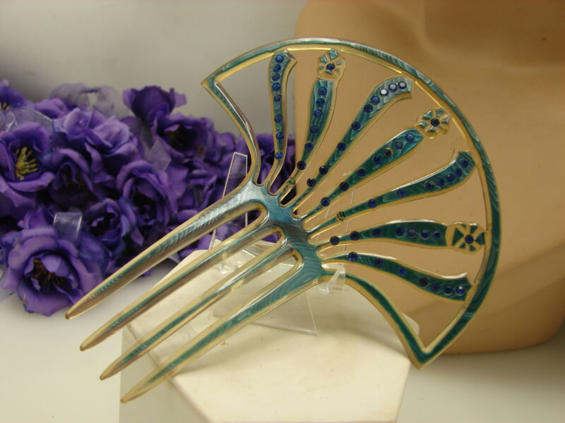 Vintage Large Lovely Celluloid Blue Rhinestone Big Hair Comb