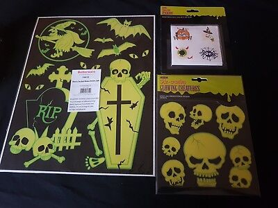 Halloween Accessories - Halloween Stickers Range - Glow in the Dark, Cute Set