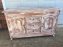 Teak Solid Timber White Washed Buffet Unit Sideboard Beach Feel Buderim Maroochydore Area Preview